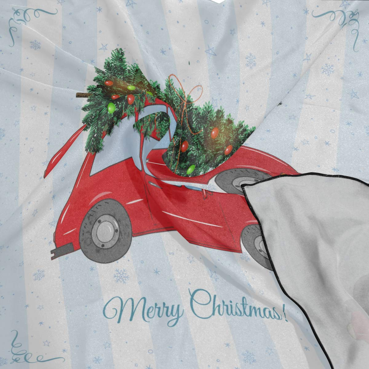 Soft Polyester Silk Hair Neck Scarf Fashion Print Red Car Carrying Christmas Tree Long Scarfs Scarf Thin Unique Scarves For Women Multiple Ways Of Wearing Daily Decor