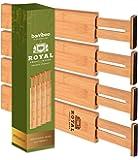 "ROYAL CRAFT WOOD Expandable Bamboo Drawer Dividers Organizers - Adjustable Drawer Separators Best for Kitchen, Bathroom, Bedroom, Office or Dresser Organization, Set of 4, 16.5""-22"""