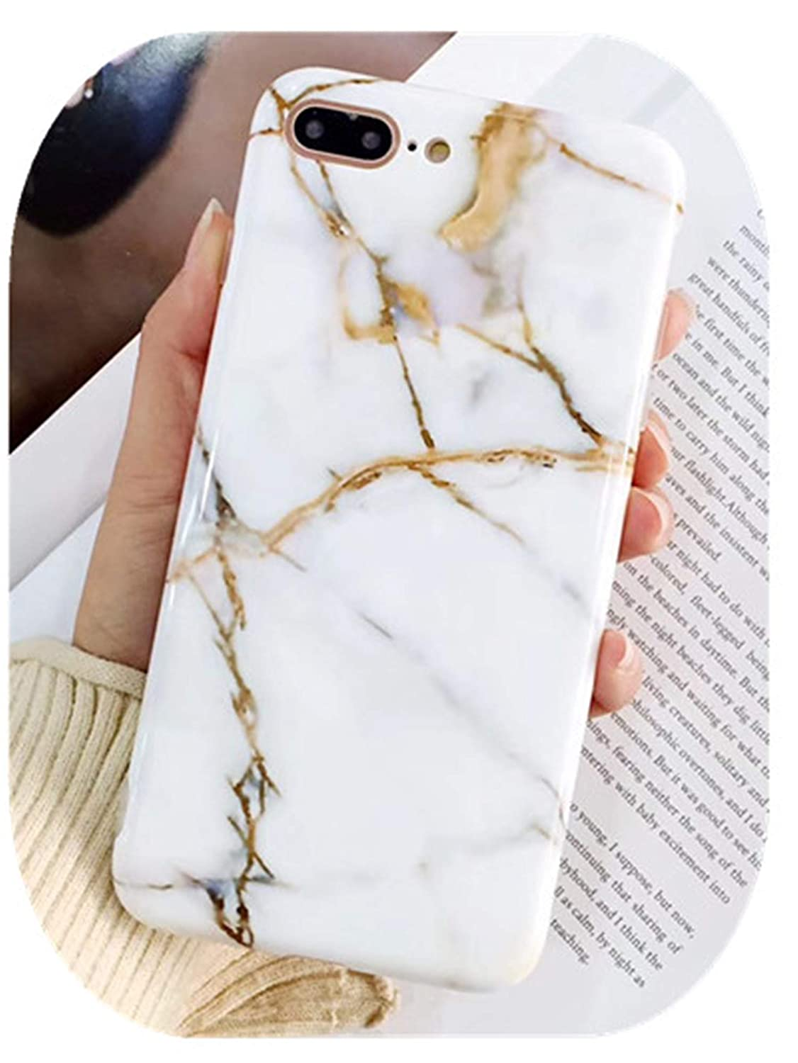 Amazon.com: Luxury Marble Phone Case for iPhone Coque Fundas ...