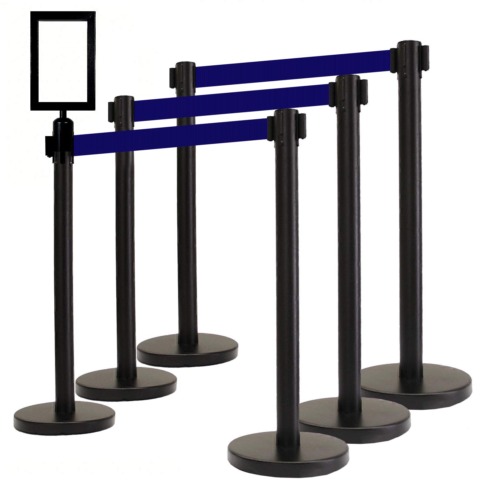 VIP Crowd Control Retractable Belt Queue Safety Stanchion Barrier Set,36'' Ht, 78'' Blue Belt + Sign Frame + Wall Bracket (6 Posts+SFrame+WBracket)