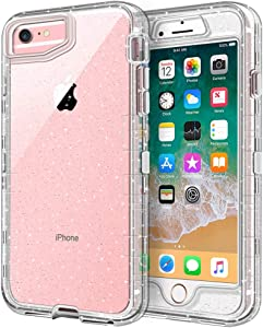 iPhone 6S Plus Case, iPhone 6 Plus Case, Anuck Crystal Clear 3 in 1 Heavy Duty Defender Shockproof Full-Body Protective Case Hard PC Shell TPU Bumper Cover for iPhone 6 Plus/6S Plus, Clear Glitter