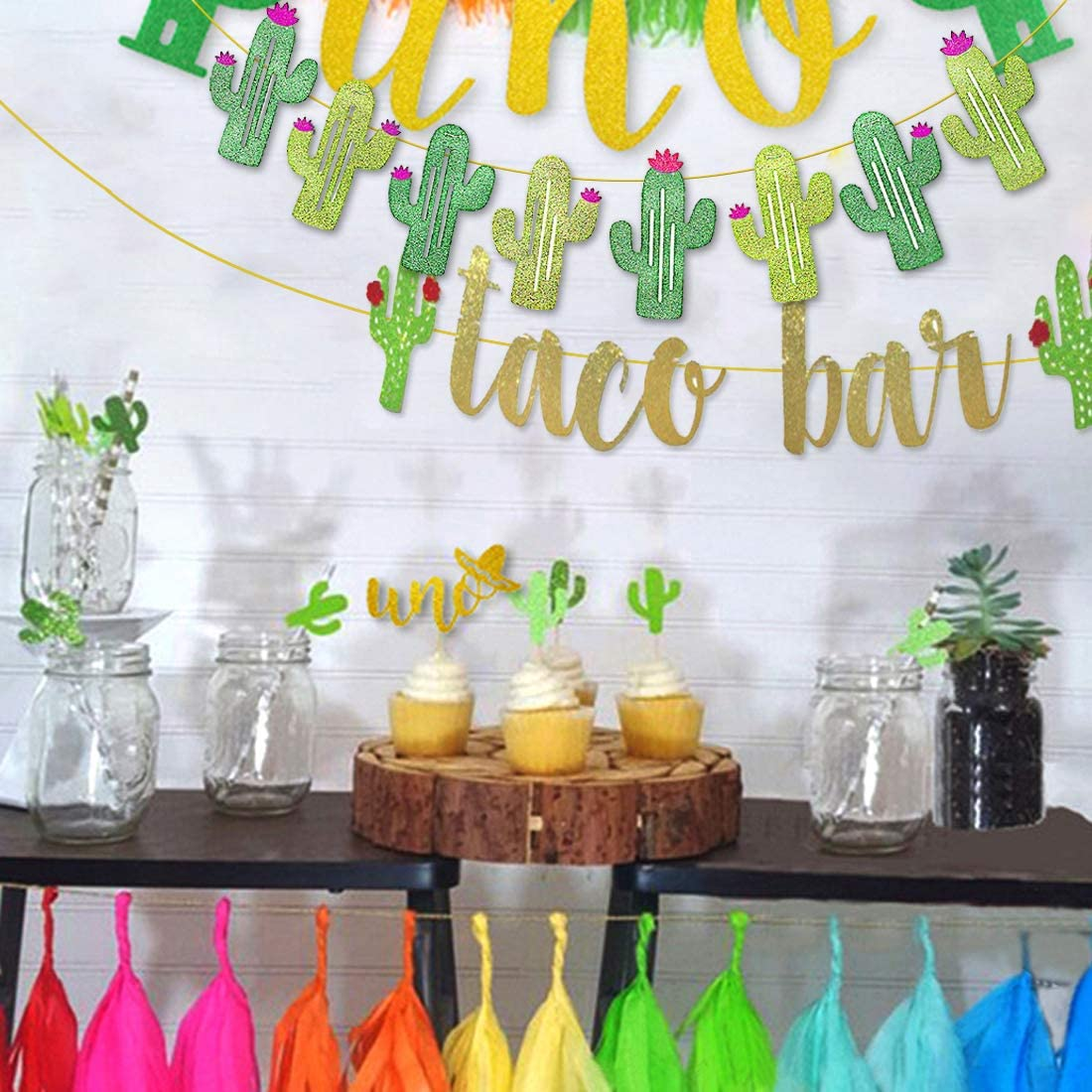 Gold Green Glittery Fiesta Banner for Mexican Fiesta Party Cinco De Mayo Decorations 2 Set Fiesta Taco Bar Cactus Banner Garland