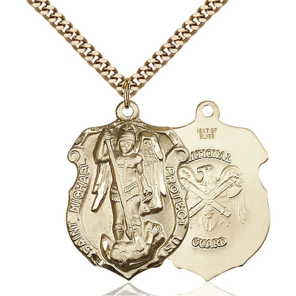 Gold Filled St. Michael the Archangel Pendant 1 1/4 x 7/8 inches with Heavy Curb Chain Bliss Manufacturing 5448GF5/24G