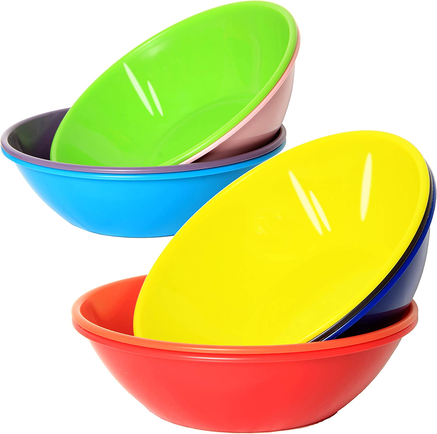 Youngever 28 Ounce Plastic Bowls, Large Cereal Bowls, for Cereal, Soup or Salad, Microwave Safe, Dishwasher Safe, Set of 9 in 9 Assorted Colors
