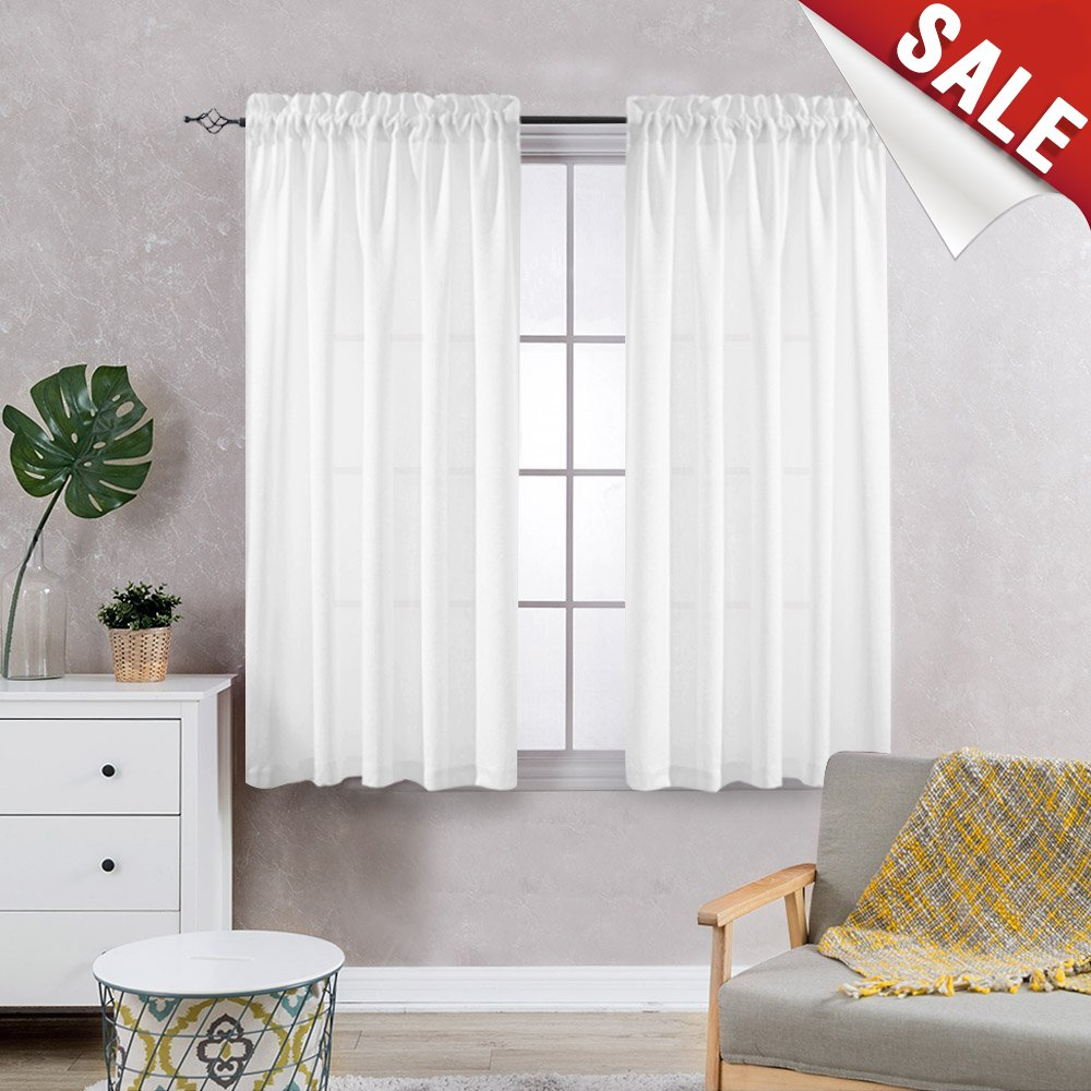 Privacy Semi Sheer Curtains for Bedroom Curtain Casual Weave Window Curtains for Living Room