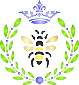 French Bee Stencil, 4.5 x 4.5 inch (S) - Crown Laurel Wreath French Country Bee Wall Stencils for Painting Template