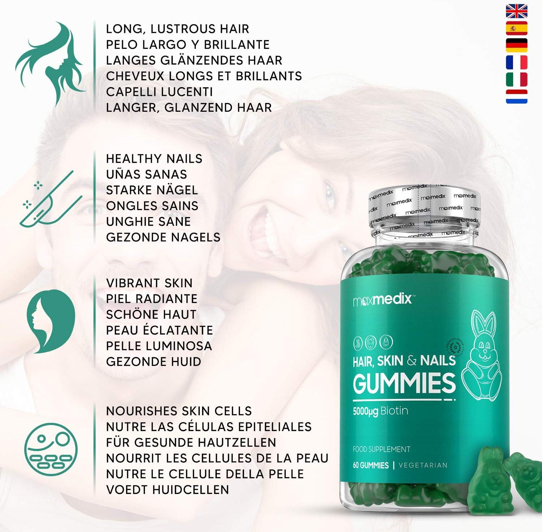 Gominolas De Biotina 5000 mcg Alta Dosis Estimula Crecimiento del Pelo - Para Cabello, Piel y Uñas, Suplemento Vitamínico y Anticaída Con Zinc, Sabor a Arándano y Frambuesa - 60 Unidades Maxmedix: