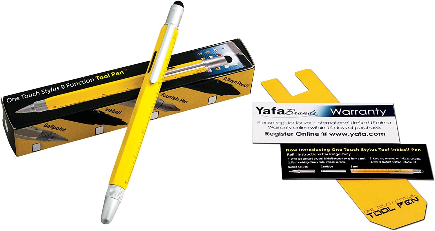 New In Box Monteverde 9 in 1 One Touch Stylus Tool Ballpoint Pen Yellow