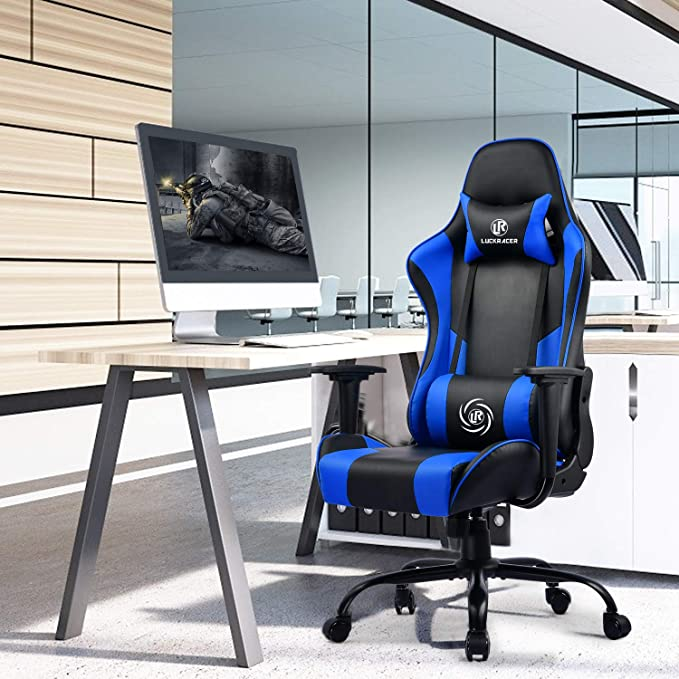 LUCKRACER Chaise Gaming de Bureau Fauteuil Gamers Si/ège Ergonomique Accoudoir R/églable