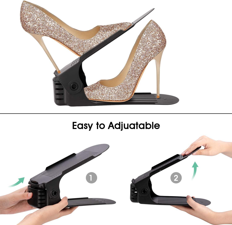 Double Deck Shoe Rack Holder for Closet Organization 10-Pack Adjustable Shoe Stacker Space Saver White AQUAPRO Shoe Slots Organizer