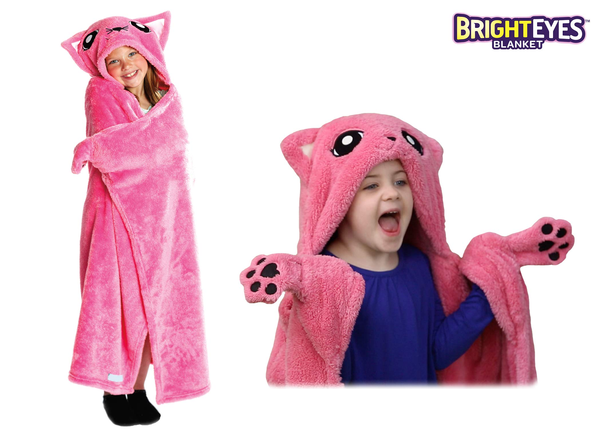 Bright Eyes Blanket - Super Soft Snuggie for Kids - Hooded, Blanket, Robe - Comfy Throw Blanket, Pink Kitten; Warm Fuzzy Blanket, Stuffed Animal Blanket - Machine Washable - Perfect for Sleepovers!