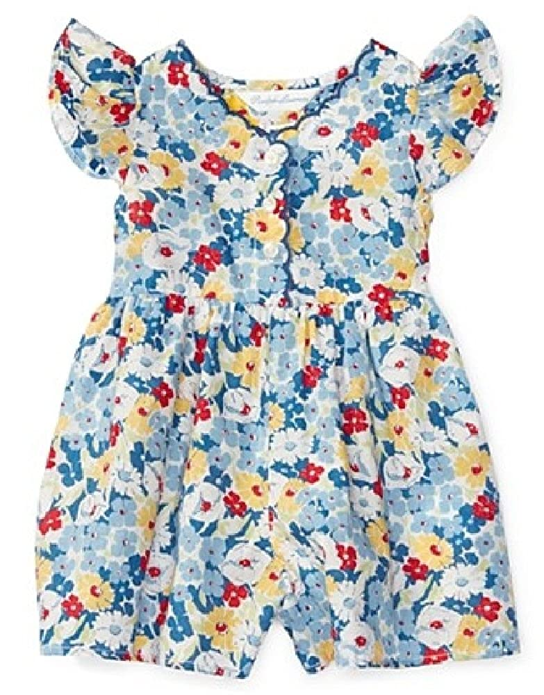 e2c28b3df741 Amazon.com  Ralph Lauren Baby Girls  Floral Cotton Romper- Blue Multi   Clothing