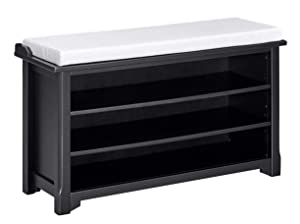"Ravenna Home Radcliffe Upholstered Storage Bench, 40""W, Black"