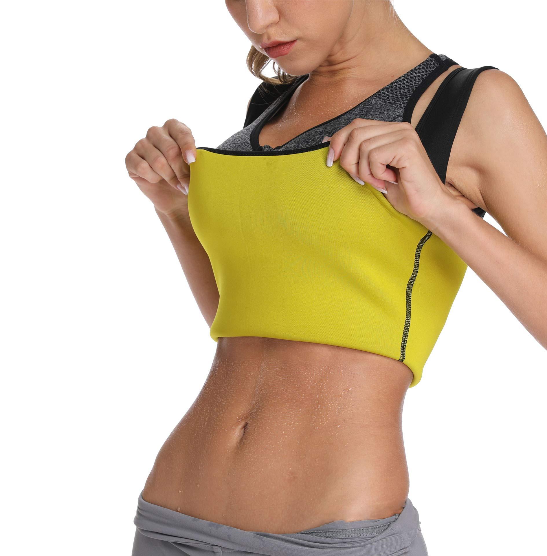 SLIMBELLE Sweat Vest Neoprene Sauna Suit for Women Weight Loss Tummy Fat Burner Slimming Shapewear Shaper Tank Top Yellow-M by SLIMBELLE