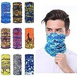 MaxFox 9PCS Magic Scarf Outdoor Headwear Bandana Tube UV Face Cover Multifunctional Mask Workout Hiking