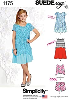 product image for Simplicity Suede Says Pattern 1175 Girls Plus Dresses, Top and Shorts Sizes 8 1/2- 16 1/2