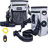 Dog Treat Pouch waterproof Training Bag Built-In Poop Bag Dispenser With Reflective Adjustable Straps and training Clicker 3 Ways To Wear By PureBox