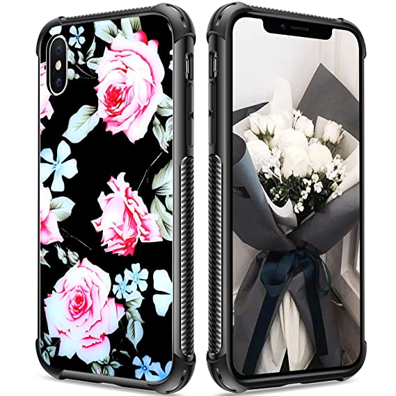 on sale 2f29b 81025 Black iPhone Xs Max case, Girl iPhone Xs max Case Hybrid Shockproof  Anti-Scratch Tempered Glass Back Soft Shock Absorption Technology TPU  Bumper Drop ...