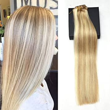 multi color hair extensions human foxy star 18quot clip in blonde hair extensions 14 multi color golden mixed amazoncom 18