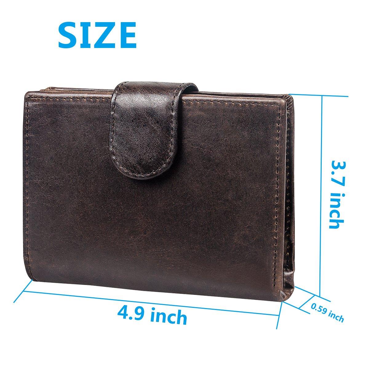 Cartera de bloqueo de RFID para hombres con bolsillo para monedas - Cuero genuino Trifold Vintage - Ideal para viajes - Compacta - Capacidad para 14 ...
