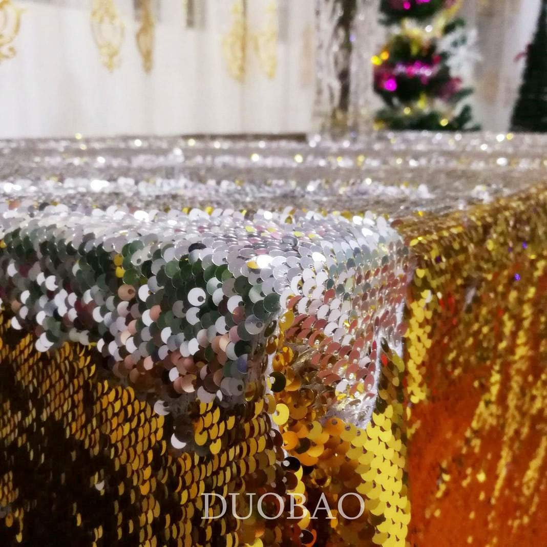 DUOBAO Sequin Tablecloth 60x84-Inch Gold Mermaid Sequin Fabric Gold to Silver Glitter Tablecloth Reversible tablecloths for Rectangle Tables~0516 by DUOBAO (Image #3)