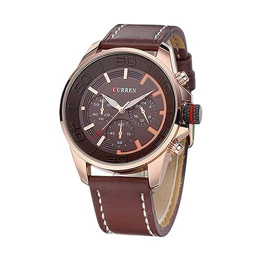 Reloj - CURREN Lujo deporte Militar de cuarzo reloj de pulsera de acero inoxidable de cuero para hombre color: marrón: Amazon.es: Relojes