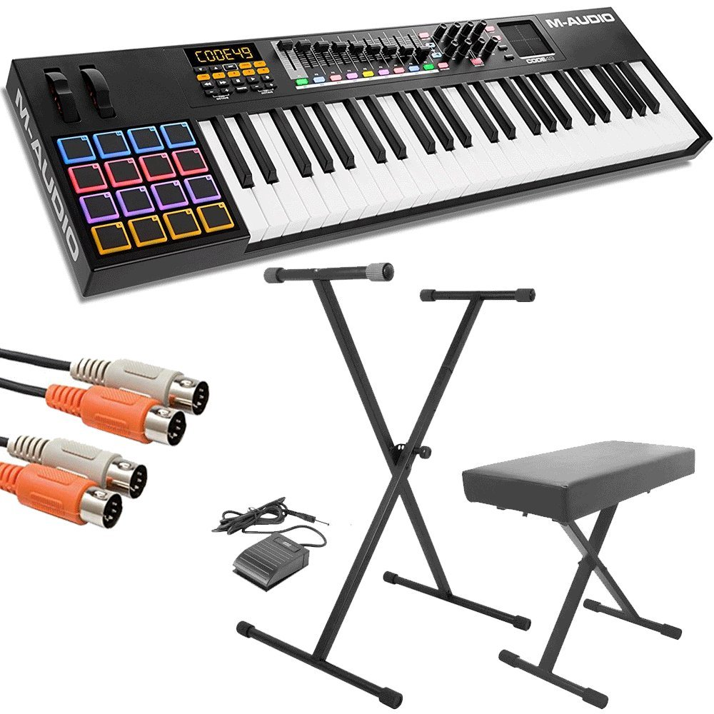 M-Audio Code 49 Black | 49-Key USB MIDI Keyboard Controller with X/Y Touch Pad (16 Drum Pads / 9 Faders / 8 Encoders) + Keyboard Stand/Bench Pak with Sustain Pedal + Dual MIDI Cable - Top Value Kit!!