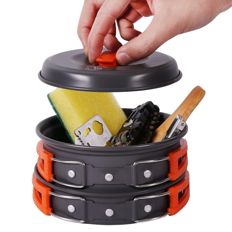 REDCAMP 12 PCS Camping Cookware Mess Kit, 800ml (28oz) Backpacking Camping Pot+Pan Set, Lightweight and Compact Cookware for Hiking, Picnic and Camping by REDCAMP