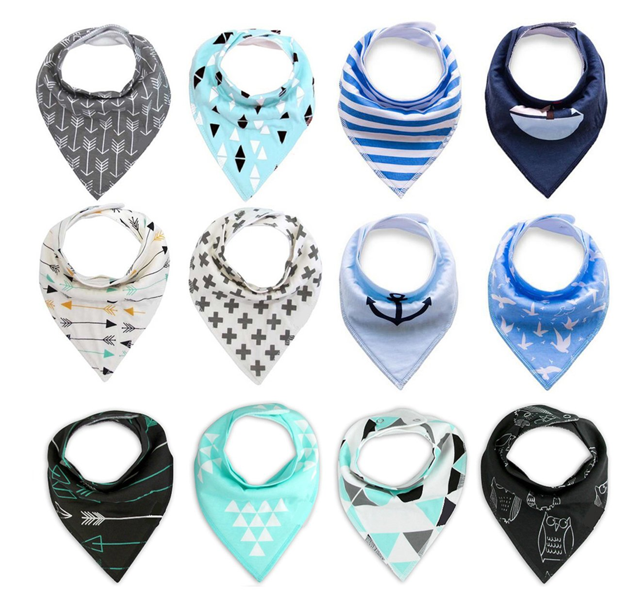 Super Absorbent Cotton Adjustable Baby Bandana Drool Bibs with 2 Snaps Unisex Baby Gift 12 Piece BabyPrice