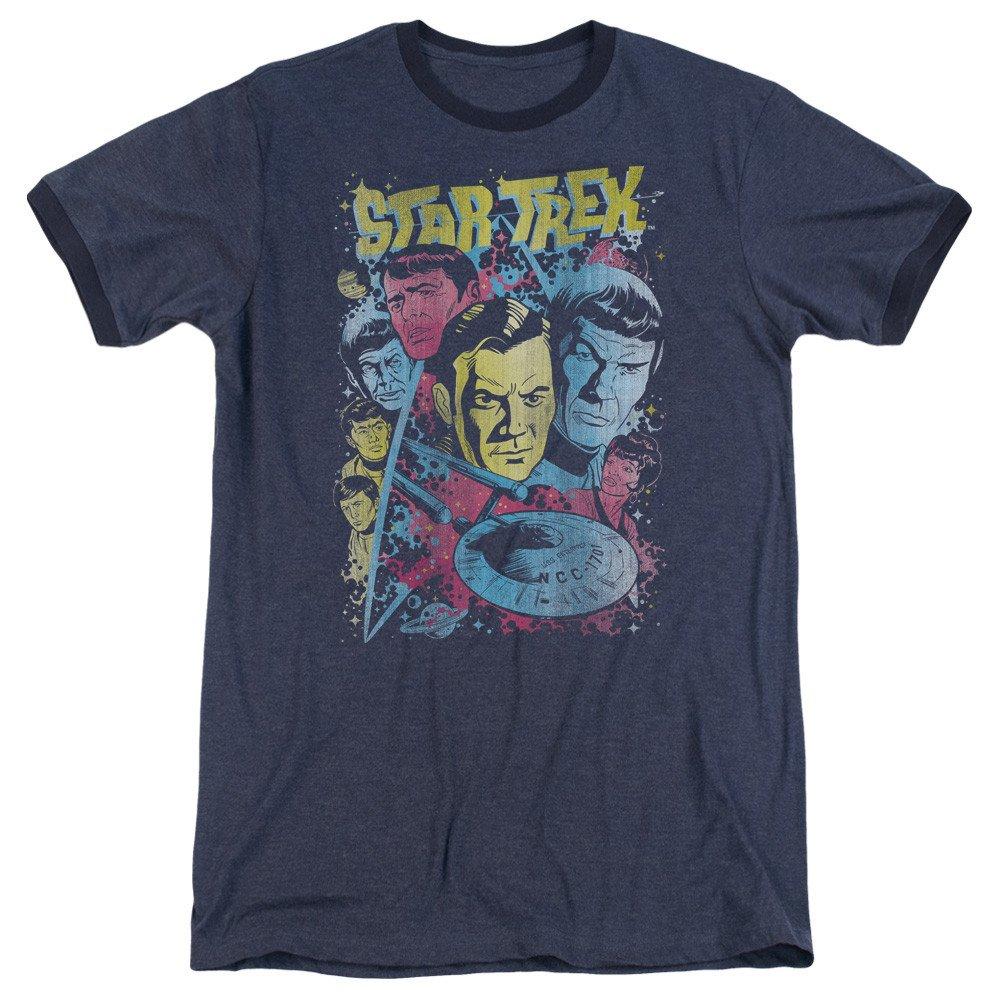 Star Trek Shirt Classic Crew Illustrated Adult Ringer T