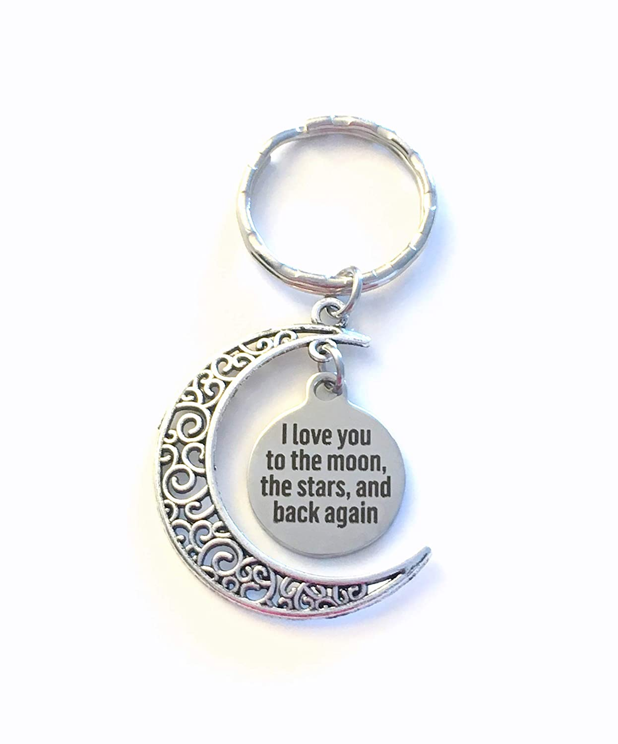 Long Distance Key Chain or Moving away present for children I love you to the moon Birthday Gift for Daughter or Son stars and back again Keychain