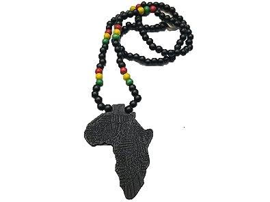 Amazon black wooden africa pendant necklace beads chain african black wooden africa pendant necklace beads chain african map continent wood long aloadofball Choice Image