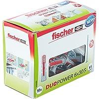 Fischer DUOPOWER 6 x 30 S, universele pluggen met veiligheidsschroef, 2-componenten-pluggen, kunststof pluggen voor…