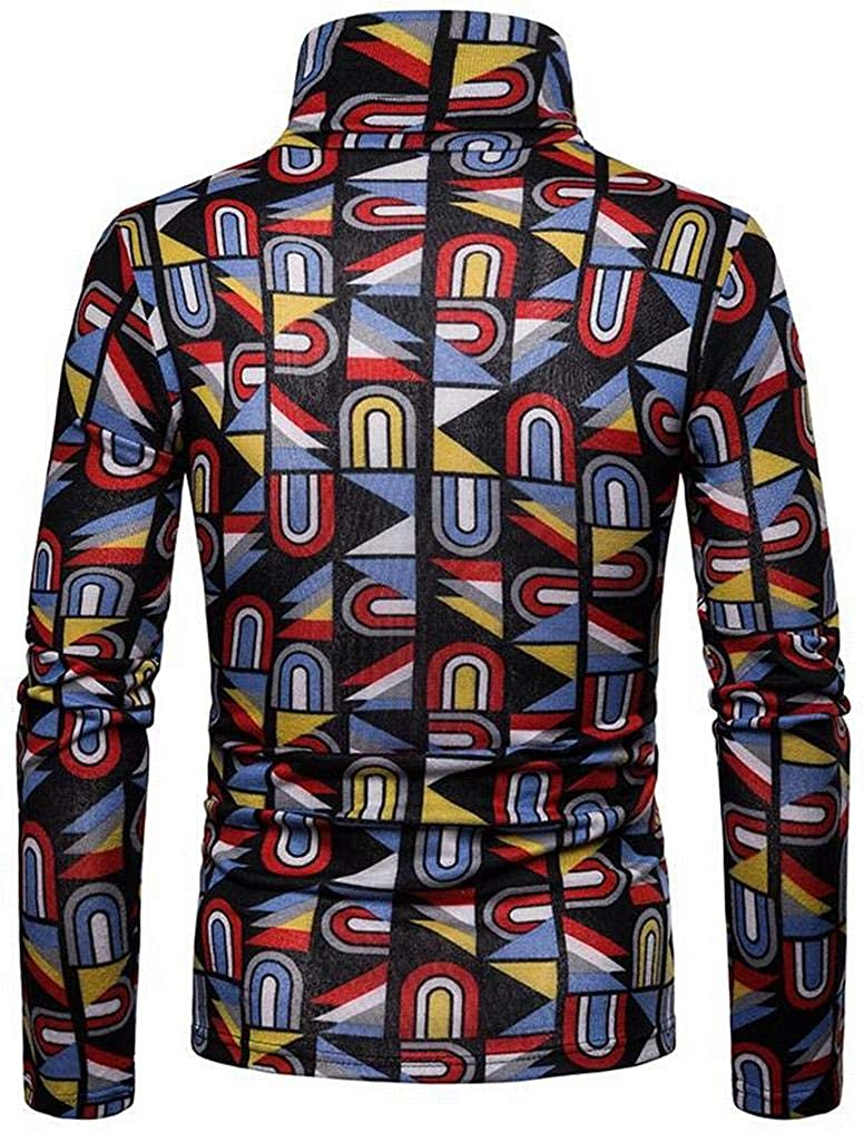 Fubotevic Mens Warm Plus Size High Neck with Velvet Graffiti Printing Long Sleeve Pullover Sweaters