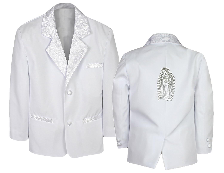 New Born Baby Boy Christening Baptism White suit Jacket Virgin Mary Maria Sm-20