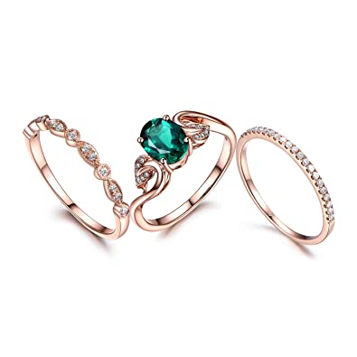 2e29c51fe2be9b Amazon.com: MYRAYGEM-wedding ring sets 3pcs Wedding Ring Set,emerald  Engagement Ring,8mm Round,14k Rose gold,Art Deco Diamond Matching Band:  MYRAYGEM: ...