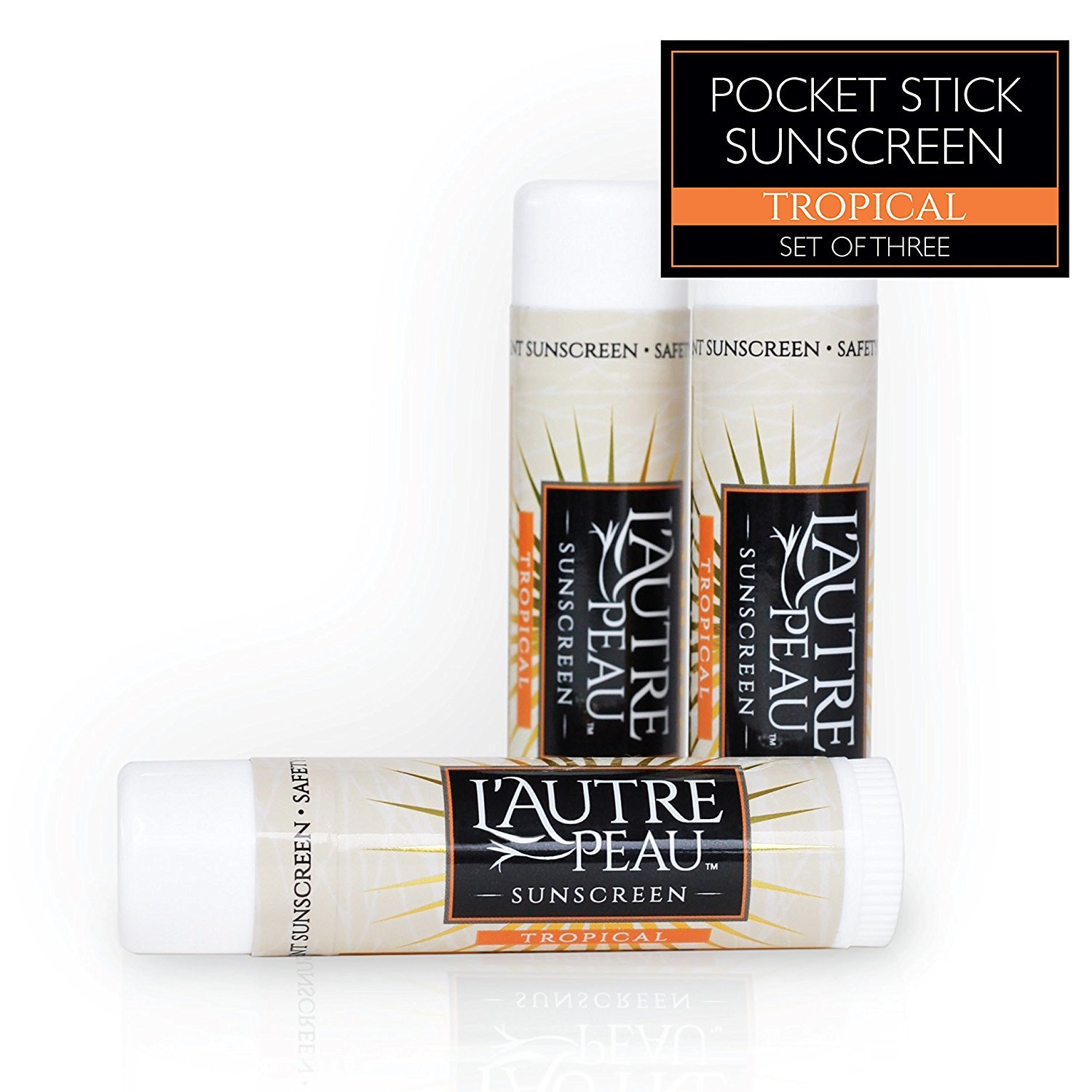 L'AUTRE PEAU SPF 30 Travel Size Sunscreen by L'AUTRE PEAU - Water Resistant Tropical Scent - Pocket Stick for Men Women and Kids - Non Greasy Broad Spectrum Protection - 3 Pack (0.7 oz)