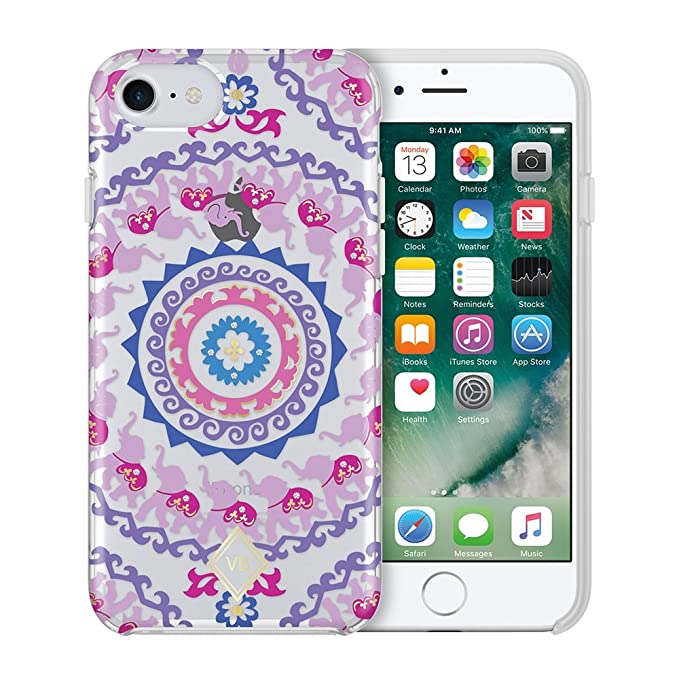 buy popular c94a0 93e70 Vera Bradley Flexible Frame Case for iPhone 8 Plus, iPhone 7 Plus & iPhone  6 Plus/6S Plus - Ellie Medallions Multi/Gold Foil/Crystals/Clear
