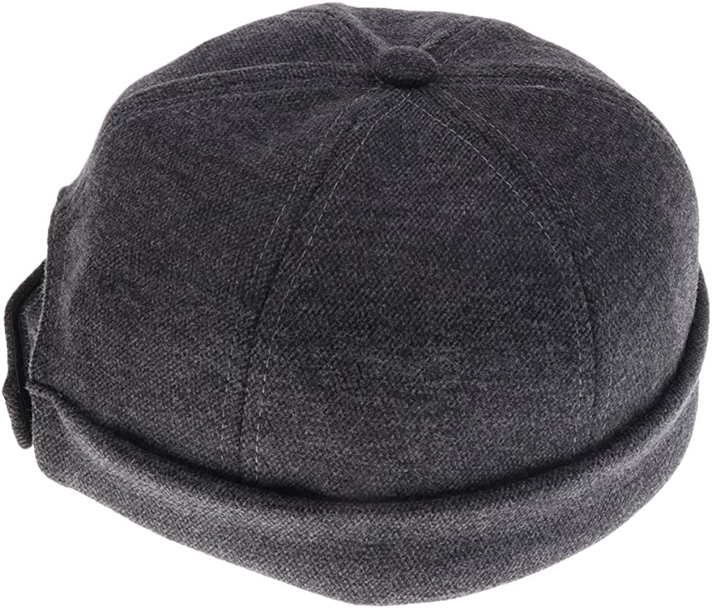 Men Women Skullcap Beanie Biker Worker Sailorcap Rolled Cuff Docker Hat 2pcs