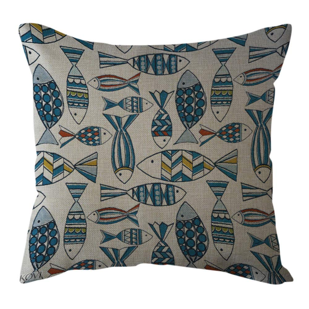 Pgojuni Cotton Linen Butterfly Home Decorative Throw Pillow Case Waist Cushion Throw Pillow Case Sofa/Couch 1pc 45X45 cm (G)