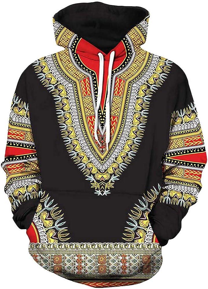 sumcreat Clothes,Lovers Autumn Winter African 3D Print Long Sleeve Dashiki Hoodies Sweatshirt Top