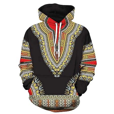 Yazidan Liebhaber Herbst Winter Afrikanisch 3D Druck Lange äRmel Hoodies Sweatshirt Oben MäNner BeiläUfig Fahren Taschen Mantel Oberteile Lose Modus