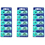 Sony, 337(SR416SW), batterie per orologio all'ossido d'argento, 1,55V, 0% Hg (senza mercurio), 15 batterie