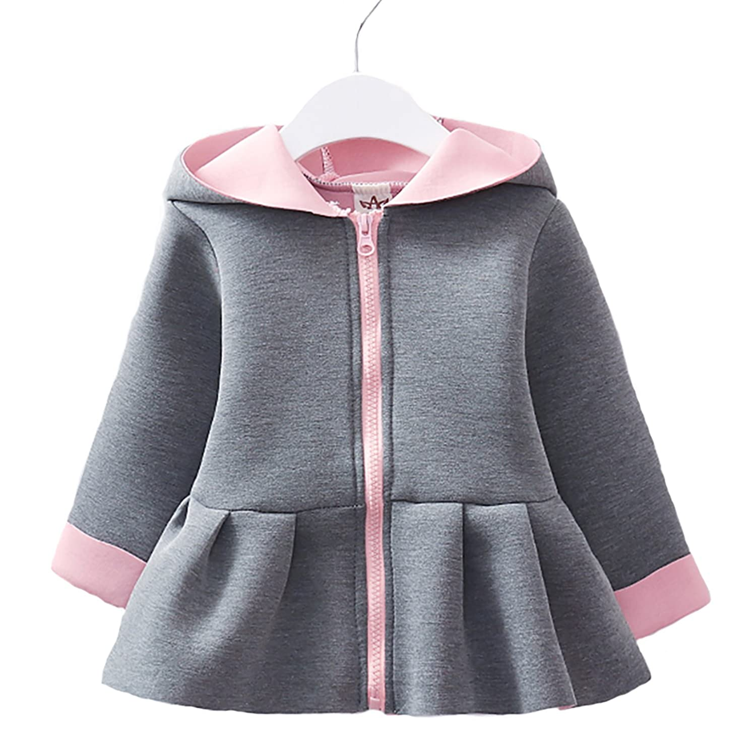 Cahayi Baby Girl Dress Coat Ear Hooded Toddler Kid Dress Outwear Jacket Hoodie CAGC03