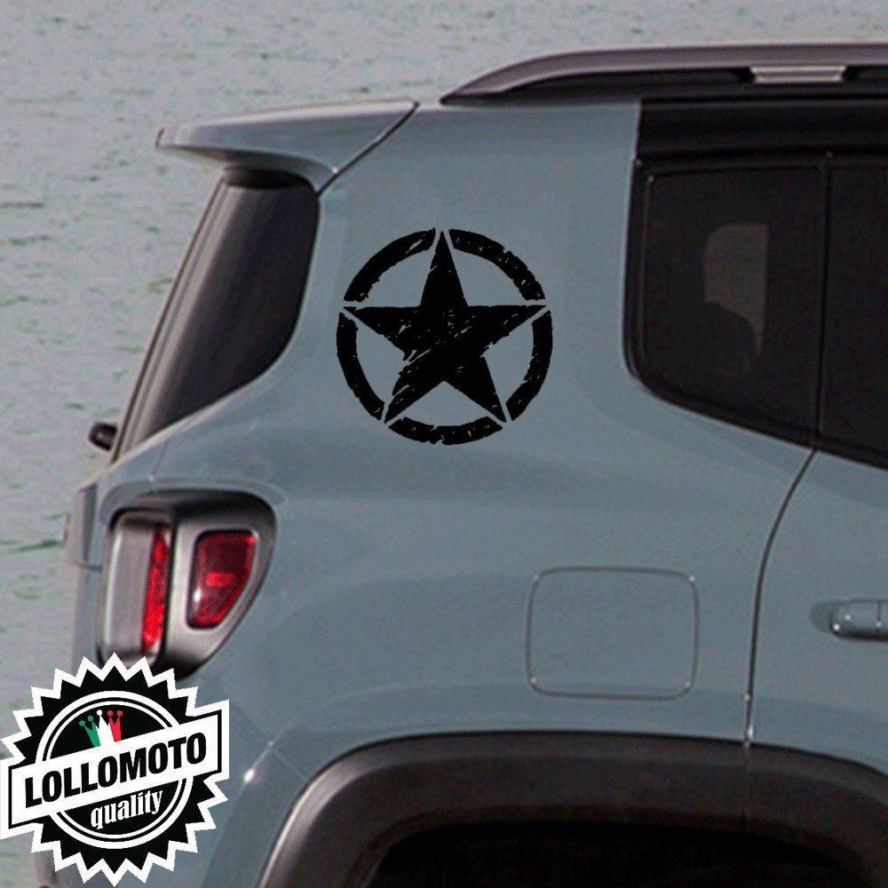 2x Adesivi Stelle Rovinate Jeep Renegade Offroad Adesivi Stickers Fiancate Aut Decal - Nero Opaco Lollomoto