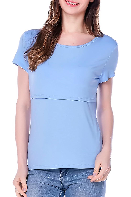 Smallshow Femme Nursing Tops Manches Courtes Chemises d/'Allaitement Design en Couches