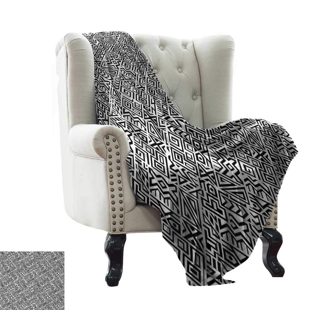 color09 60 x70  Inch BelleAckerman Weighted Blanket for Kids Black and White,Geometric Op Art Pattern Unusual Checked Optical Illusion Effect Modern,Black White Comfortable Soft Material,give You Great Sleep 50 x60
