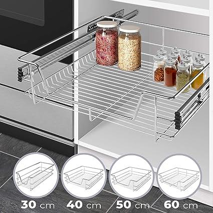 HENGMEI Caj/ón armario caj/ón extra/íble caj/ón de cocina Estante Estanter/ía de cocina cesta auszug Dormitorio caj/ón 50 cm