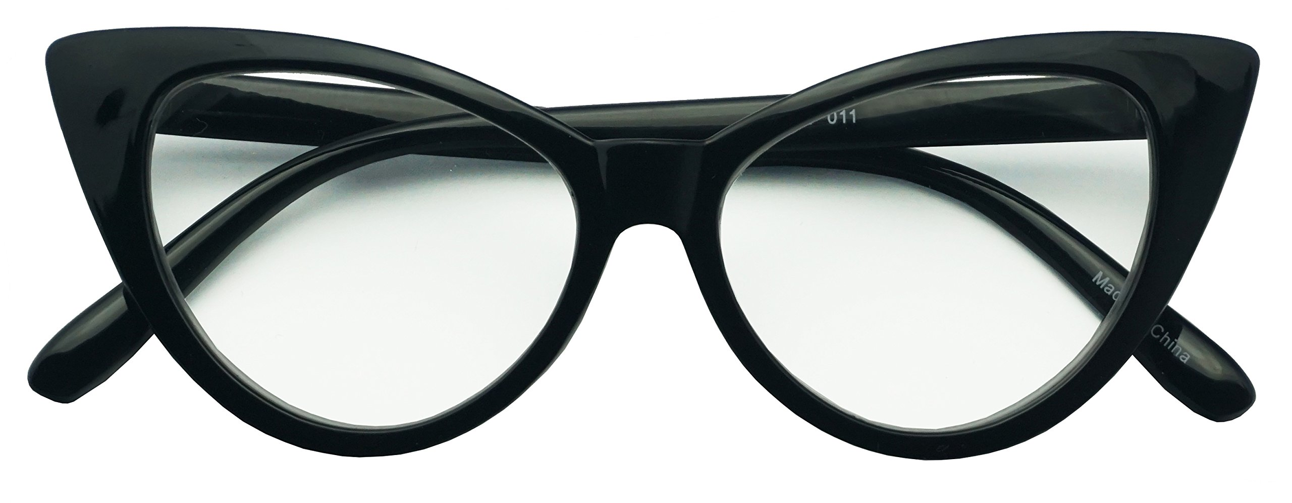 62mm Round Pointed Cat Eye Rx +2.00 Magnifying Reading Readers Glasses for Women (Black, +2.00)