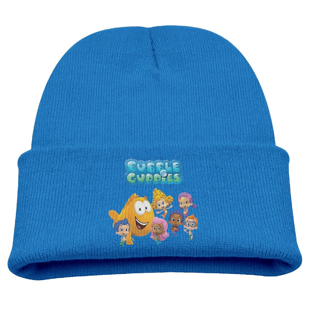 Bubble Guppies Cartoon Warm Winter Hat Knit Beanie Skull Cap Cuff Beanie Hat Winter Hats Children Larenoto